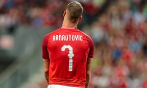 Austria's Marko Arnautovic reacts during their international friendly against Russia.