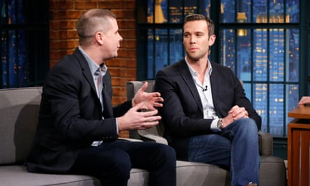 Dan Pfeiffer and Jon Favreau, two of the four hosts of 'Pod Save America', on Late Night with Seth Meyers.