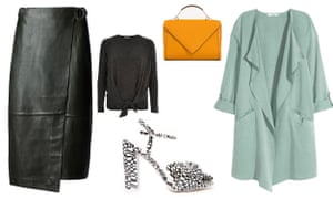 Skirt, £129, marksandspencer.com, Jumper, £28, riverisland.com, Bag, £39.99, zara.com, Shoes, £45, asos.com, Jacket: £29.99, hm.com