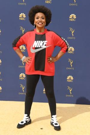 Jennifer Lewis attends in a Nike sweatshirt.