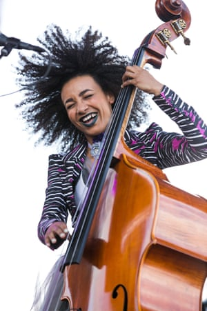 'Everyone who touches it is in awe' … Esperanza Spalding and  her bass. Photograph: Mediapunch/Rex/Shutterstock