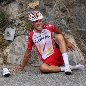 Anthony Perez of Cofidis Solutions Credits looks in pain after a crash on Stage 3 from Nice to Sisteron.
