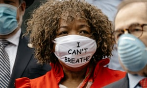 Gwen Carr, racial justice activist and mother of Eric Garner, at a press conference calling for a ban on police chokeholds on Tuesday.