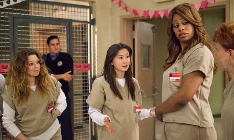 Natasha Lyonne, Kimiko Glenn and Laverne Cox in Orange is the New Black
