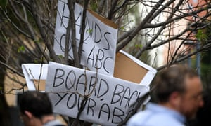 Placards left in a tree following an ABC staff meeting outside their offices in Ultimo, Sydney, September 26, 2018.