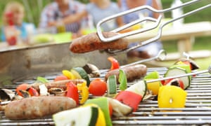 Sausages and veggie kebabs are more manageable than slow-cooked pork.