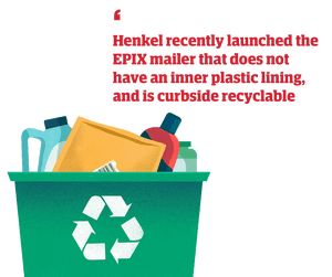 Illustration of recycling bin with quote: 'Henkel recently launched the EPIX mailer that does not have an inner plastic lining, and is curbside recyclable'