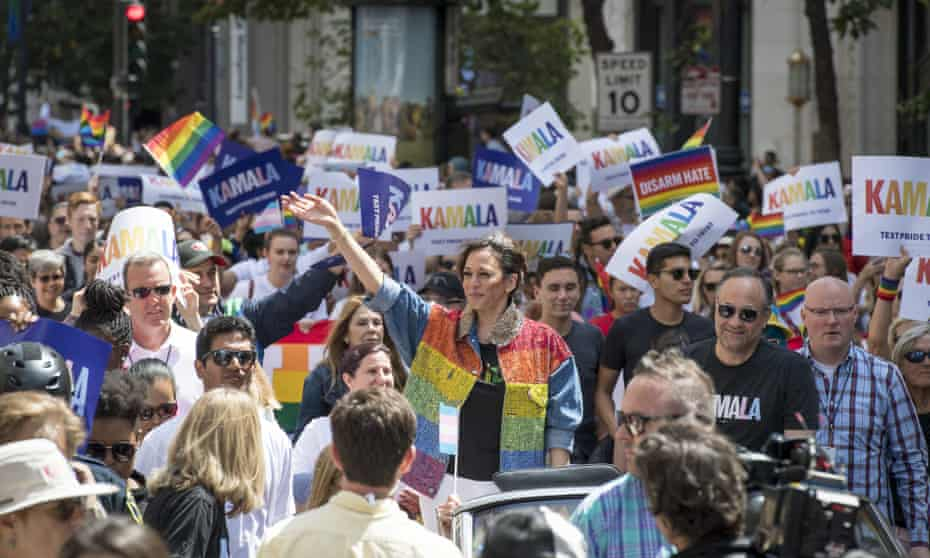 Presidential candidate Kamala Harris and her husband Douglas Emhoff attend 2019's Pride Parade in San Francisco