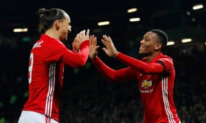 Anthony Martial, right, celebrates scoring Manchester United's second goal against West Ham with Zlatan Ibrahimovic.