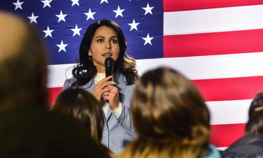 Tulsi Gabbard in New Hampshire on Tuesday. The lawsuit reads: 'Tulsi has suffered significant actual damages that are estimated to exceed $50m – and continue to this day.'