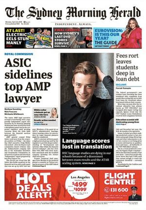 front-page SMH 23 April 2018