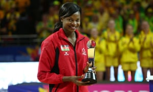 Mwai Kumwenda accepts her player of the tournament trophy at the conclusion of Sunday's final.