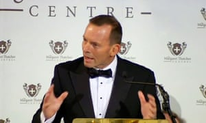 Tony Abbott giving the annual Margaret Thatcher Lecture in London.  Tony Abbott has urged European leaders to adopt Australia's hardline approach to asylum seekers.