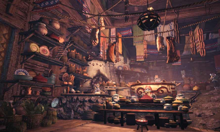 In Monster Hunter: World, the base camp is a giant cafeteria where fine foods are prepared by feline chefs.