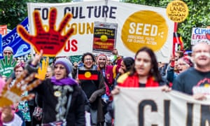 Protesters in favour of action on climate change in Melbourne