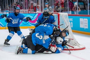 Lausanne, Switzerland. Team members celebrate their victory at the women's mixed NOC 3-on-3 bronze-medal game on day six of the Lausanne 2020 Winter Youth Olympics