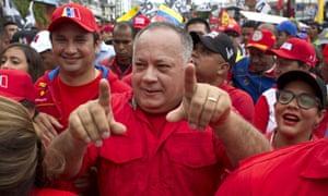 Diosdado Cabello joins a rally in support of Nicolas Maduro in Caracas, Venezuela.