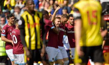 Mark Noble leads West Ham to top-half finish after win at 10-man Watford