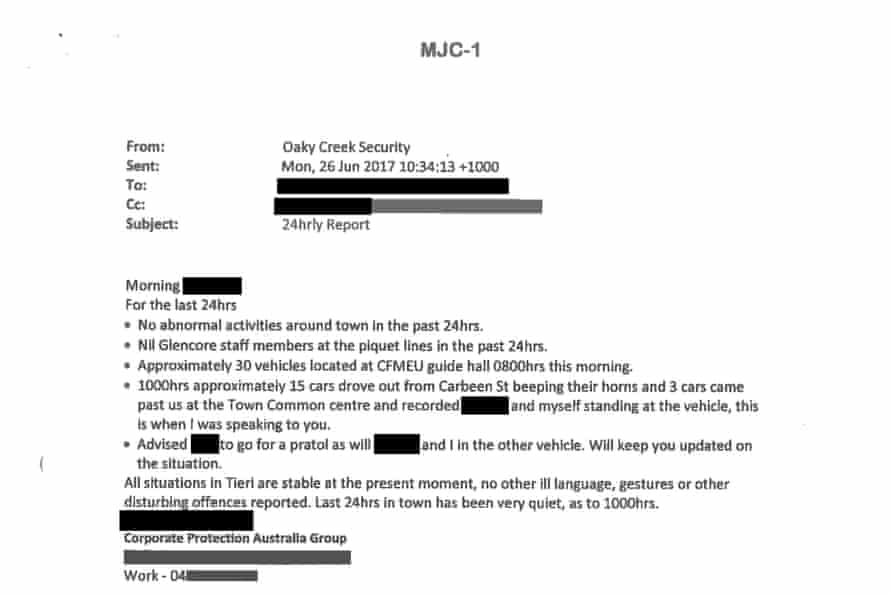 A copy of a briefing note provided to Glencore about the movements of CFMEU officials at its Oaky North mine in 2017.