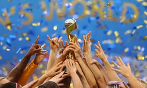 Carli Lloyd of the USA lifts the FIFA Women's World Cup.