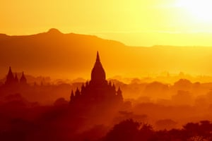 Sunset over Bagan temples in Myammar