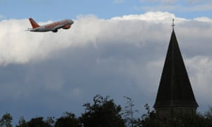 An easyJet flight takes off from Gatwick.