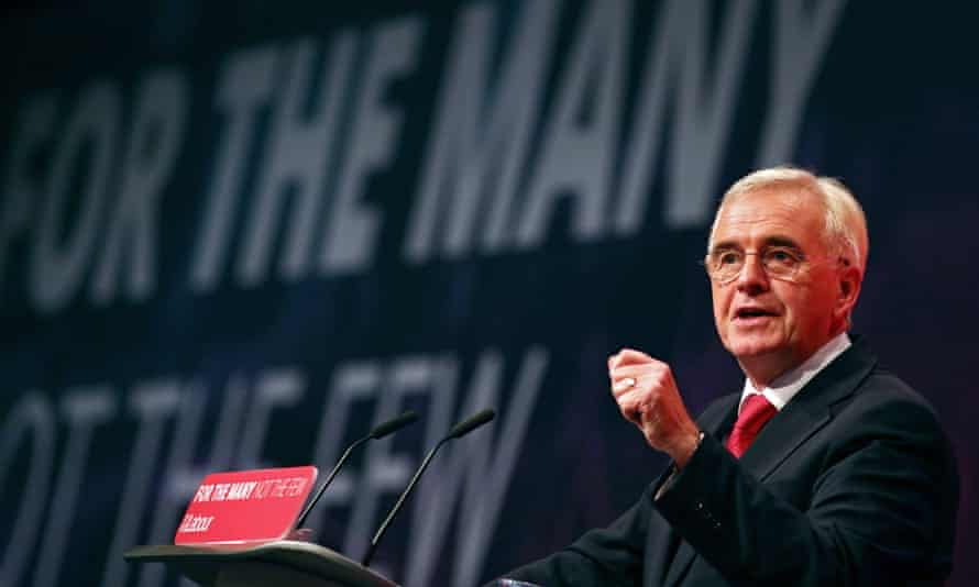 Shadow chancellor John McDonnell addressing the Labour party conference in Brighton on Monday