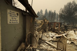 A sign hangs on a wall at the Paradise elementary school, destroyed by the Camp fire.