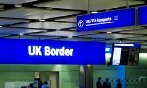 The UK border control at Heathrow