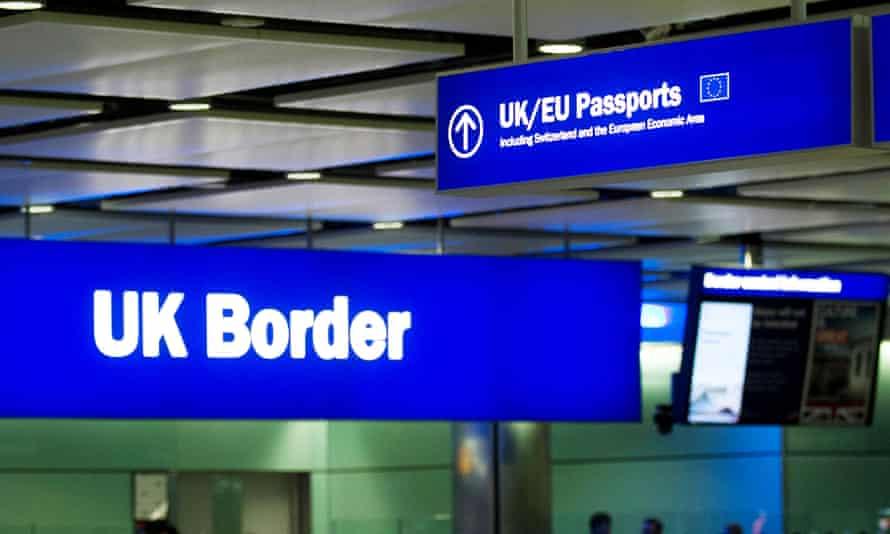 Passport signs at UK border