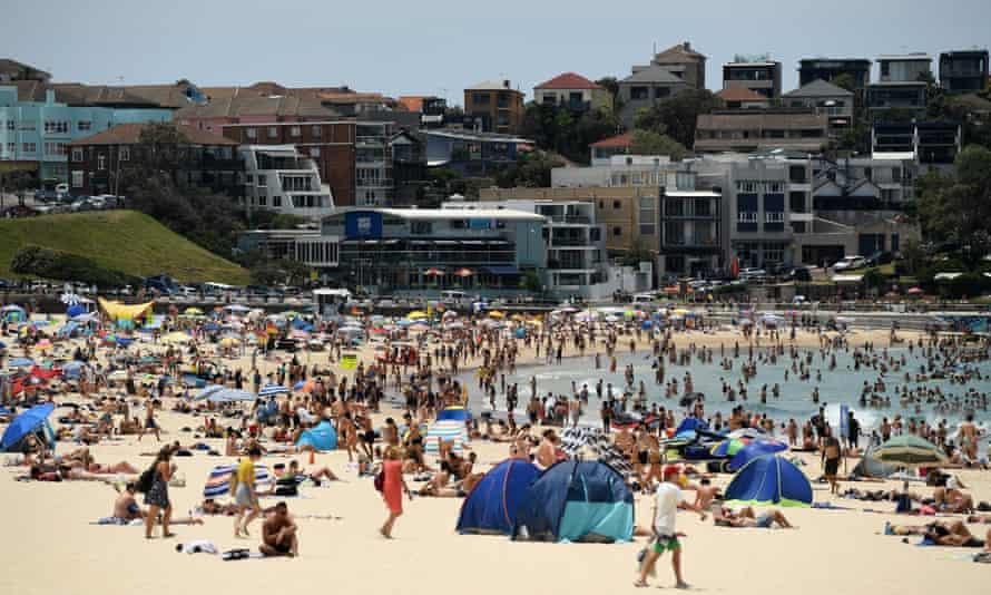 A packed Bondi beach during Sydney's late November heatwave