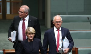 Prime minister Malcolm Turnbull arrives for question time in the House of Representatives in parliament house Canberra with treasurer, Scott Morrison, and foreign minister, Julie Bishop. 30 May 2018.