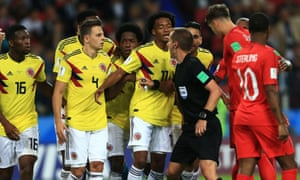 Colombia players showed their displeasure with Mark Geiger throughout the match