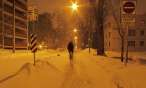 Winter cycling in Winnipeg, Canada.