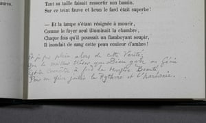 The extra verse by Baudelaire, written in a 1857 copy of Les Fleurs du Mal (The Flowers of Evil).