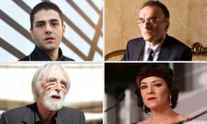Smiling for the cameras … Xavier Dolan, Danny Boyle, Michael Haneke and Lynne Ramsay