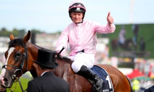 Seamie Heffernan celebrates winning the Derby on Anthony Van Dyck.