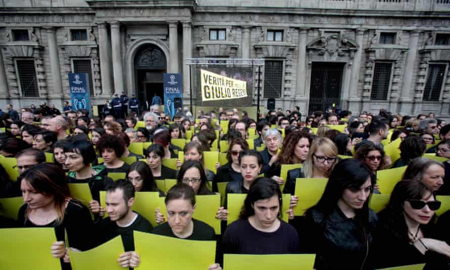 A protest in Milan against the murder of Cambridge PhD student Giulio Regeni in Egypt