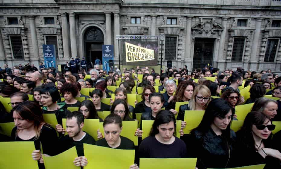 Protesters at a 'Truth for Giulio' action in Milan