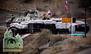 Russian peacekeepers stationed in front of Dadivank monastery, outside the town of Kalbajar, which has been transferred to Azerbaijan