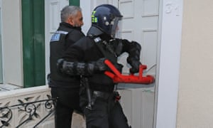 Police raid an address in Stockton, Teesside, as part of a crackdown on people trafficking and serious sexual offences.