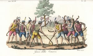 Indigenous Mapuche of Chile playing the game of ciueca or palin, a hockey-like game with sticks and large ball, from an 1842 engraving.
