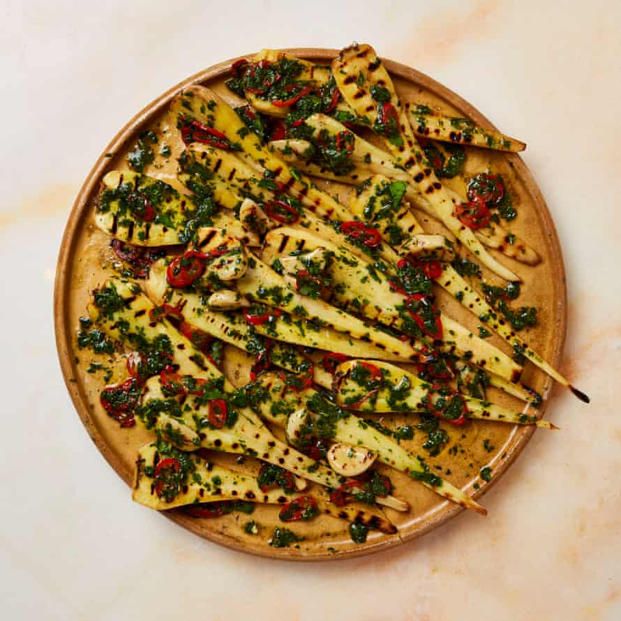Yotam Ottolenghi's 2020_01_18 confit and grilled parsnips with herbs and vinegar