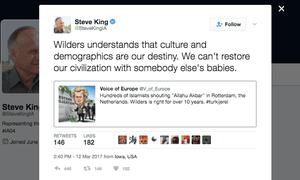 Congressman Steve King's tweet in support of Dutch politician Geert Wilders.