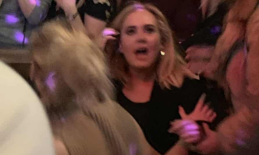 A picture taken with permission from the Instagram account of @benlebowitz shows Adele and Jennifer Lawrence at Pieces bar in Greenwich Village, New York.