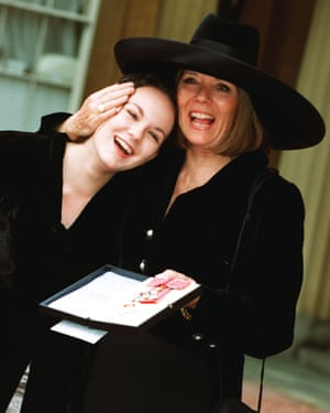 Diana Rigg with her 17-year-old daughter Rachel Stirling, at Buckingham Palace where she was made a Dame Commander of the British Empire on 8 November 1994