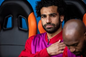 Mohamed Salah looks on from the bench during the national anthems before the match between Egypt and Uruguay at Ekaterinburg Arena.