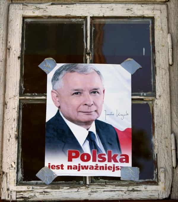 A poster of Jarosław Kaczyński