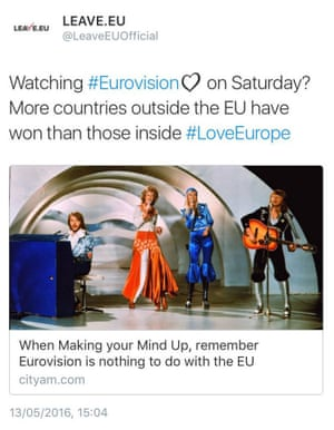 Leave.EU's tweet about Eurovision