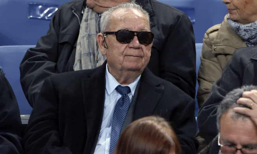 Just Fontaine attends the France v Germany match at the Stade de France.